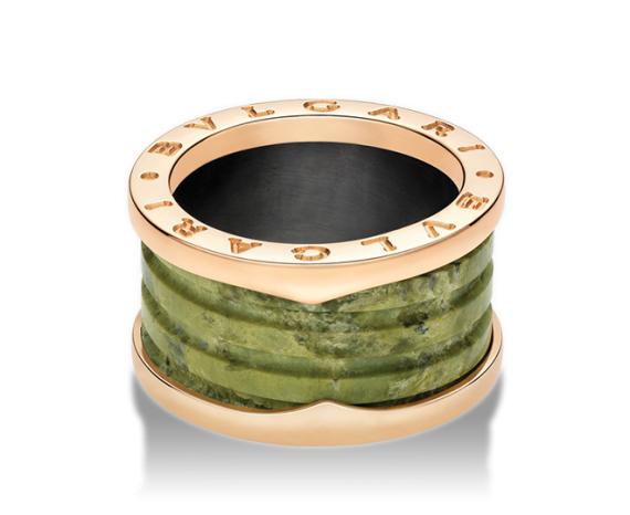 Кольцо B.Zero1 в четыре полосы зеленый мрамор. арт. ZERO-23090