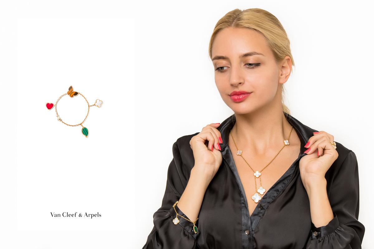 Браслет Van Cleef Arpels Lucky Alhambra, 4 мотива арт. VC-35386