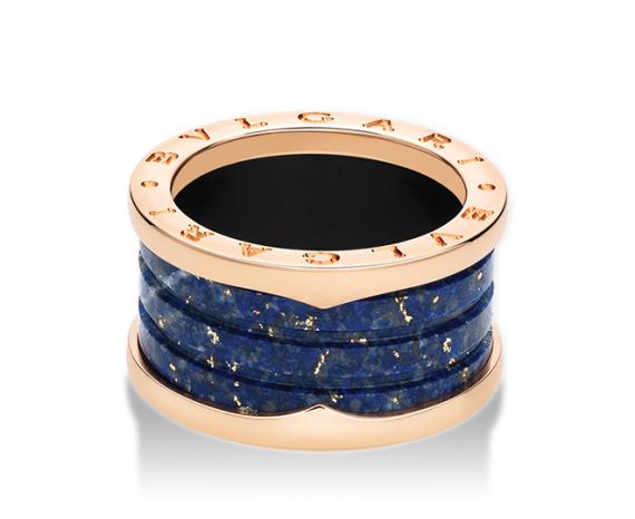 Кольцо B.Zero1 в четыре полосы синий мрамор. арт. ZERO-23089