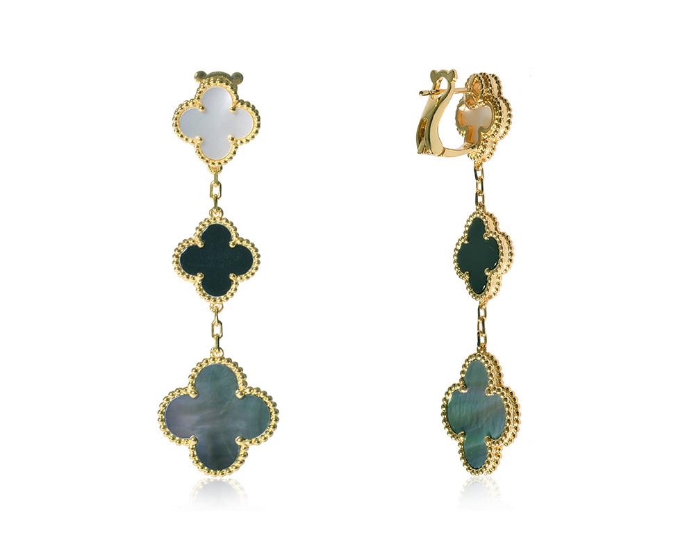 Серьги Van Cleef Arpels 3 мотива, коллекция Magic Alhambra арт. VC-35403