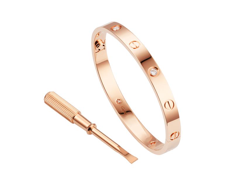 Браслет Картье Love с отверткой, цвета розового золота c кристаллами Swarovski CR-27468