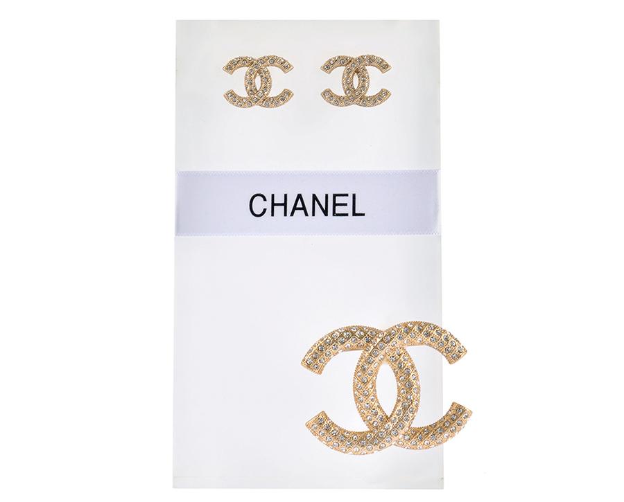 Комплект серьги и брошь Шанель арт. CH-63436