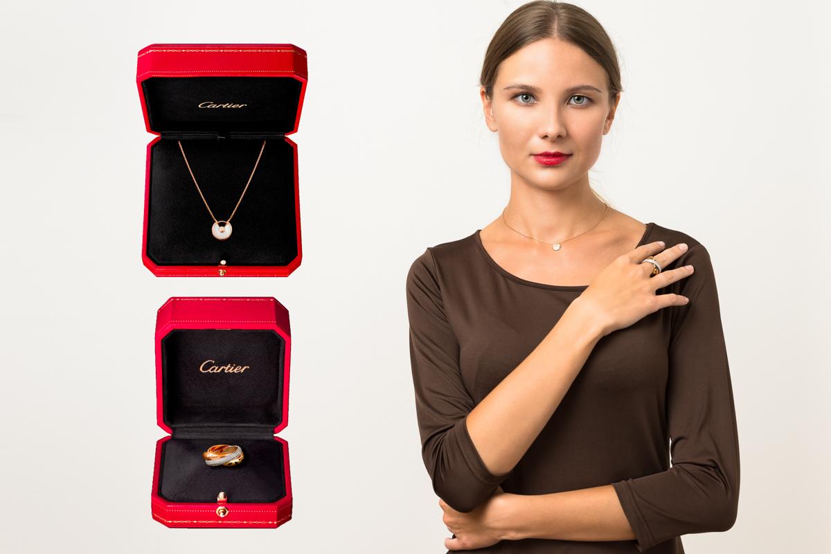 Комплект Cartier (кулон Amulette de Cartier и кольцо Cartier Trinity SAUVAGE ) арт. CR-65643