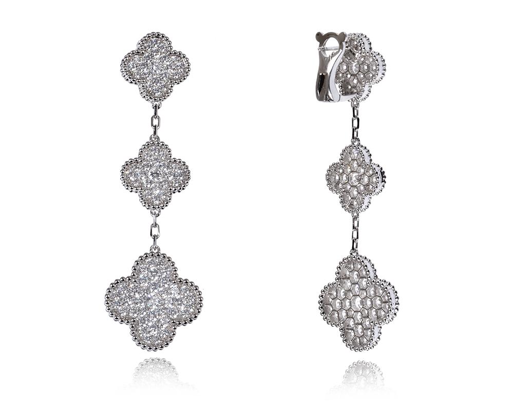 Серьги Van Cleef Arpels 3 мотива, коллекция Magic Alhambra, серебро арт. VC-10098